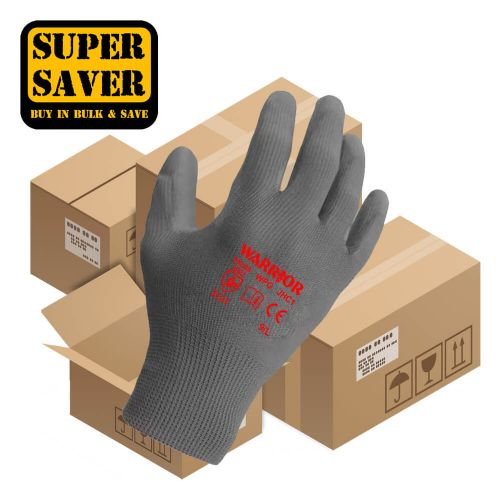 Warrior Grey PU Gloves - 120 Pairs